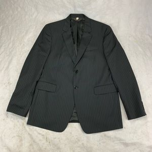 56L Burberry Black Pinstripes Wool Suit Jacket